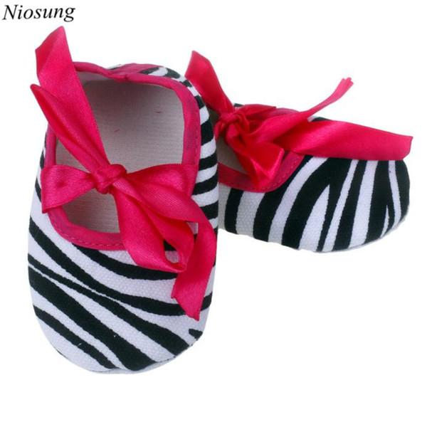 Wholesale- Kids Baby Girls Bowknot Stripe Printing Infant Princess Cotton fabric Newborn Cloth Shoes Prewalker Anti-slip Shoes wholesale v