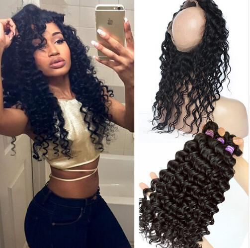 Pre Plucked 360 Lace Frontal With 3Pcs Peruvian Deep Wave Hair 4Pcs/Lot 360 Lace Bnad Frontal Closure With Virgin Human Hair Bundles