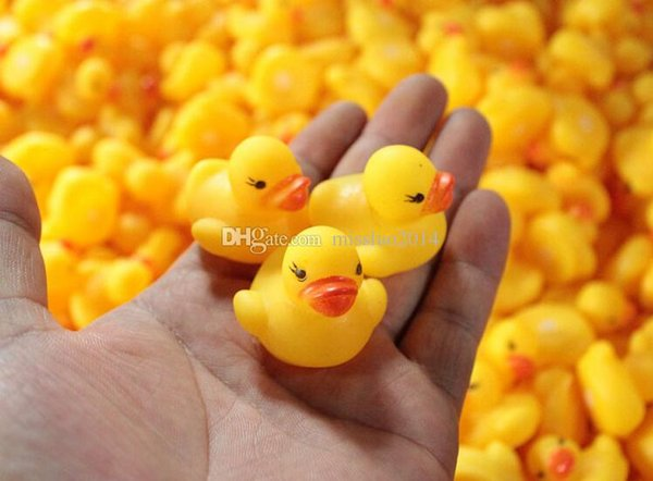 4000pcs High Quality Baby Bath Water Duck Toy Sounds Mini Yellow Rubber Ducks Kids Bath Small Duck Toy Children Swiming Beach Gifts