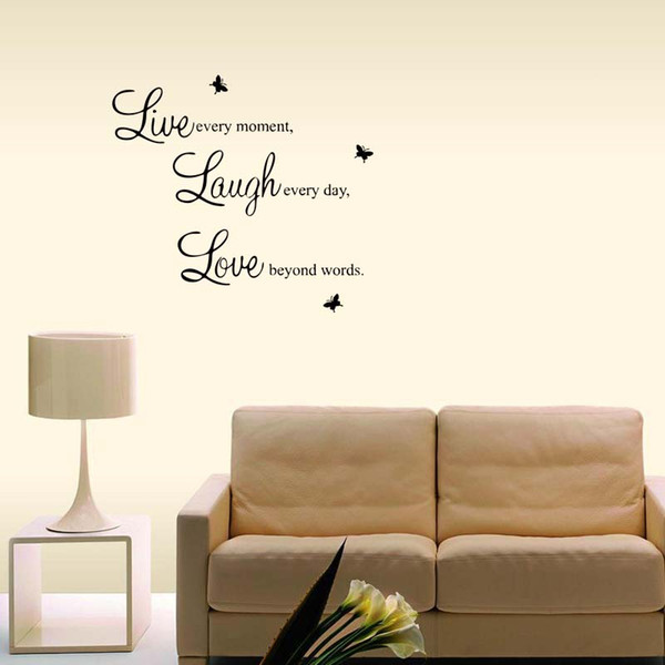 Live Laugh Love Vinyl Wall Quote Stickers Wall Personality Decals Removable  Art Bedroom Sitting Room Decor Diy Sticker Wall Art Quotes Sticker Wall ...