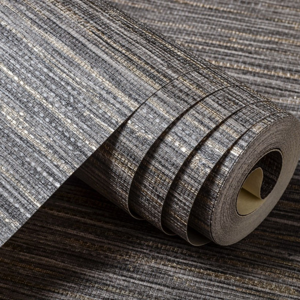 Wholesale- Light Tone Grey Straw Wall Paper Grasscloth Covering Nature Vinyl Gray Horizontal Striped Wallpaper Roll For Bedroom Background