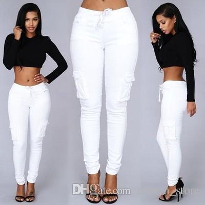 Ashion Rahat Pantolon Kadın Kapriler Yaz Yüksek Bel Kamuflaj Çok Cep Tayt Pantalones Mujer Pantolon Alt Giysileri
