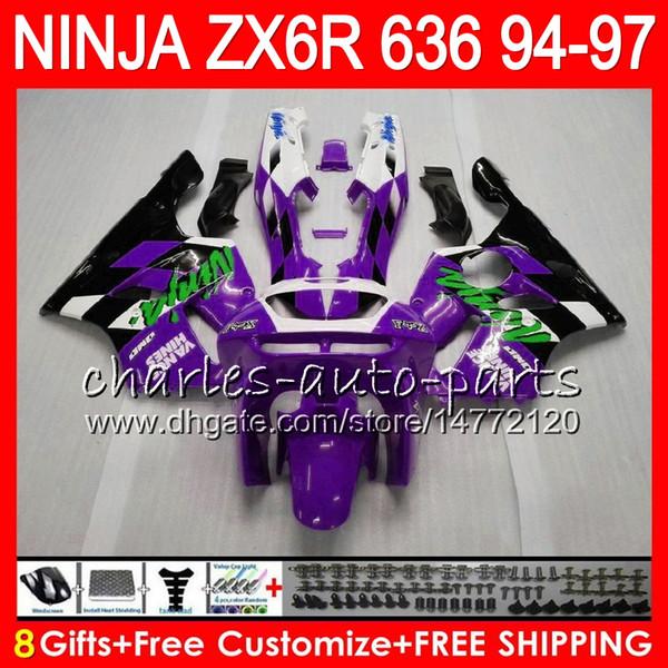 8Gifts 23Colors For KAWASAKI NINJA ZX6R 94 95 96 97 600CC ZX-6R 33NO67 purple black ZX636 ZX 636 ZX 6R ZX600 1994 1995 1996 1997 Fairing kit