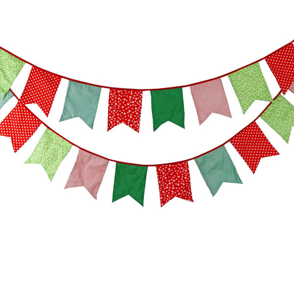 Wholesale- Popular Korean Bunting 12 Flags Party Bunting Felt Banners Baby Shower Birthday Bunting Garland Home Decoration