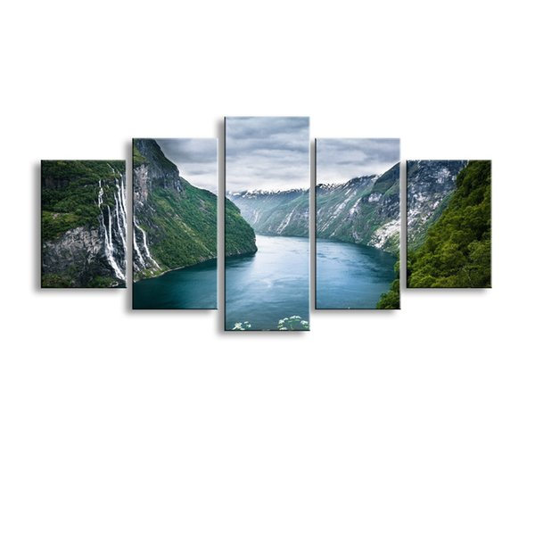 5 pieces high-definition print clouds landscape canvas oil painting poster and wall art living room picture PL5-208