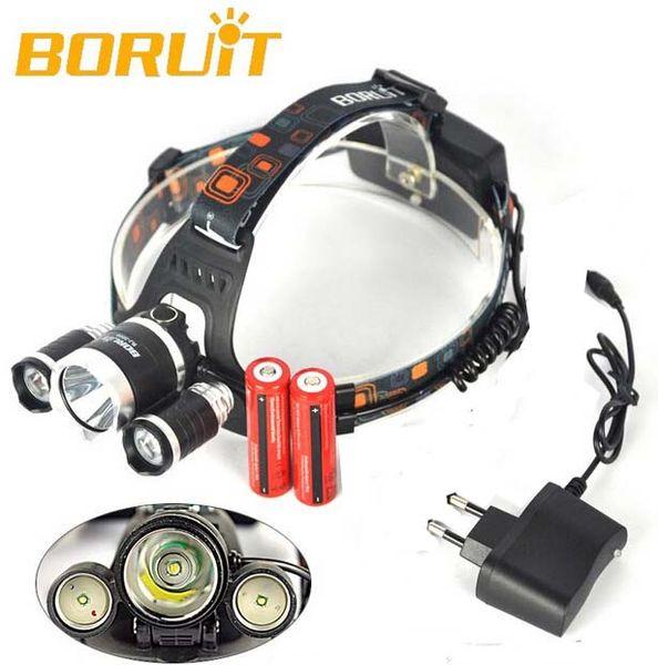 3T6 Headlamp 5000 Lumens 3 x Cree XM-L T6 Head Lamp High Power LED Headlamp Head Torch Lamp Flashlight Head +AC charger