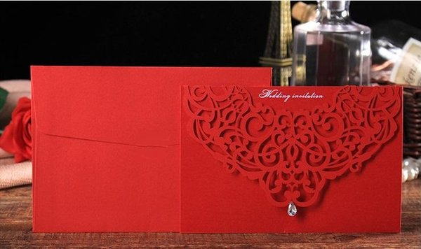 Wholesale Personalized Wedding Invitation Cards Red wedding invitation Thank You cards modern designs card DHL free shipping on hot sale