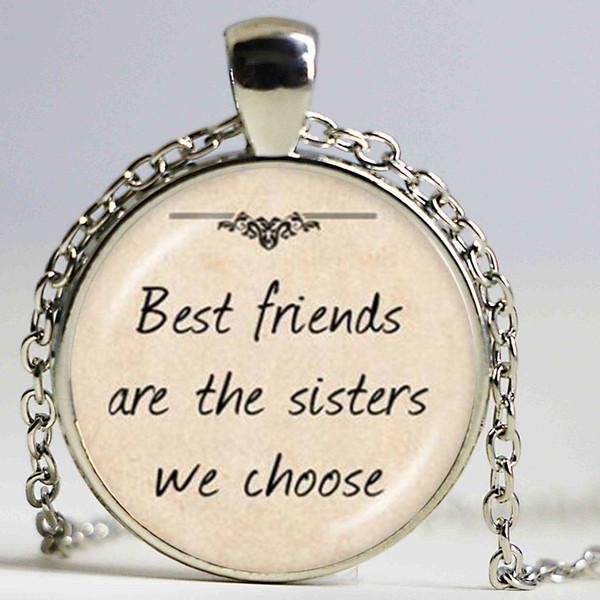 Les meilleurs amis sont la soeur que nous choisissons la lettre pendentif collier ras du cou femmes hommes mode collier en verre transparent