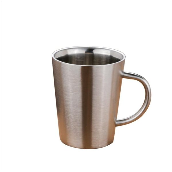 12pcs 304 stainless steel double layer coffee cup beer cup stainless steel cup heat insulation and anti ironing household products DHL ship