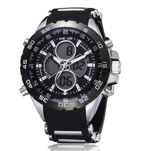 WEIDE marca nuovo arrivo moda orologio al quarzo digitale uomini orologio uomo nero cinturino in caucciù relogio militare reloj masculino hombre horloge