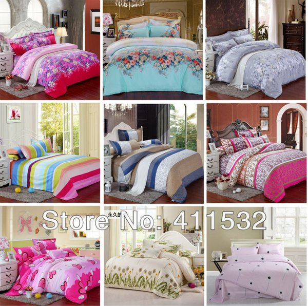 Wholesale- Reactive Print 4Pcs bedding sets luxury include Duvet Cover Bed sheet Pillowcase king/Queen/Full size home textile
