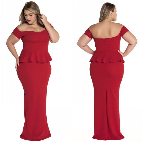 Plus Size Women Formal Dresses Cheap 2020 Latest Off The Shoulder Short  Sleeves Peplum Mermaid Floor Length Red Evening Dresses Prom Gowns Party  Dress ...