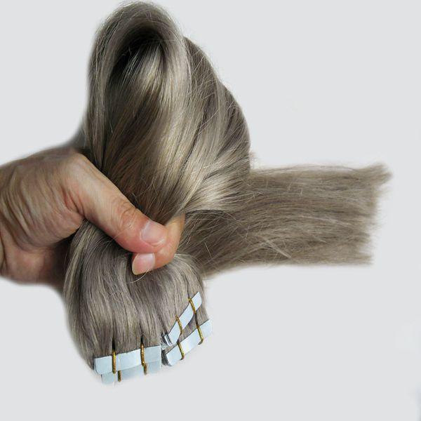 Brazilian Virgin Straight Tape Silver Human Hair 200g Tape In Human