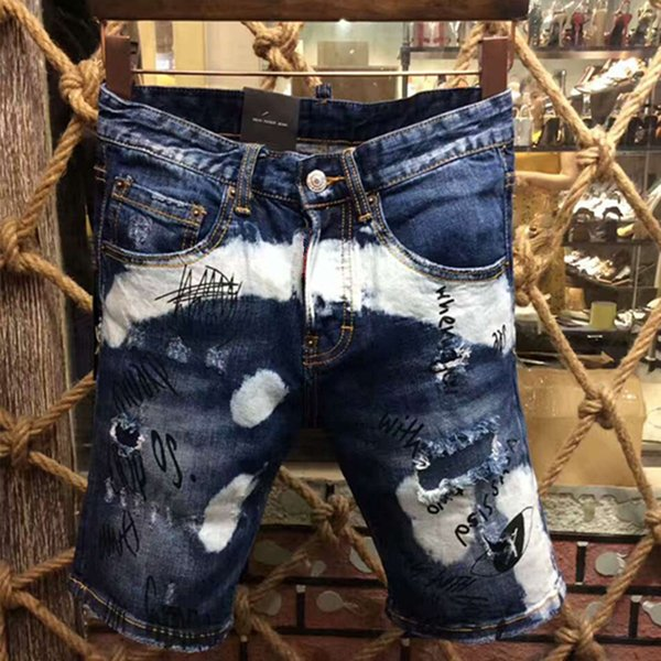 Vente en gros- 2017 Nouvelle Arrivée Été Hommes Shorts Jeans Populaire Trou Tendance Lavé Jeunesse Jeans Homme Broyage Metrosexual Shorts Jeans Pantalon