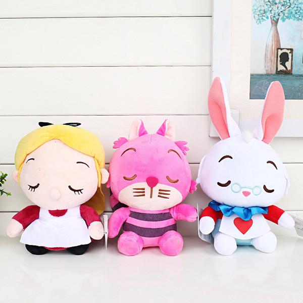"New 3 Style Alice in Wonderland Alice Cheshire Cat White Rabbit Plush Doll Stuffed Animals Toy Holiday Gifts (3pcs/Lot / Size: 8"" 20CM )"