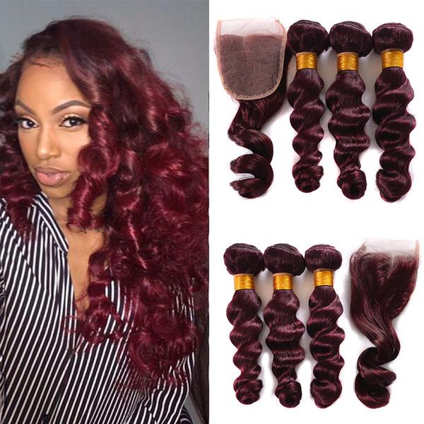 99J Burgundy Brazilian Loose Wave Hair 4pcs Red Brazilian Hair Weave 3 Bundles With Lace Closure 99j Burgundy Loose Deep Wave With Closure