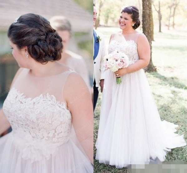 Discount Country Style Plus Size Wedding Dresses 2017 Backless