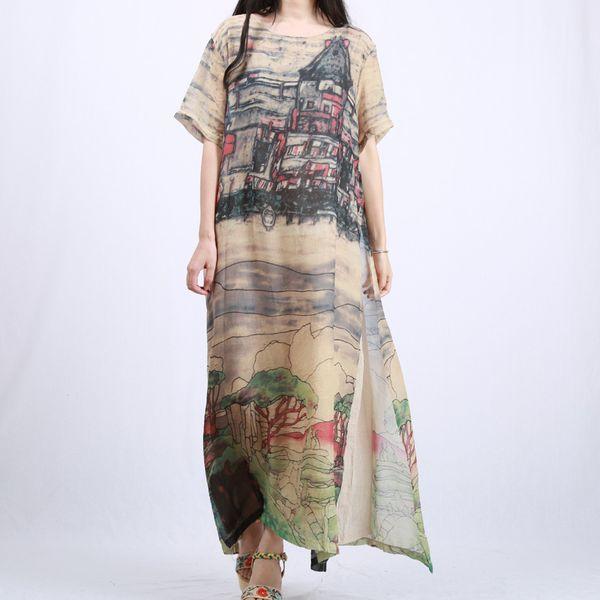 Lzjn manga curta vestidos de verão 2017 mulheres long beach vestidos falso 2 peças paisagem maxi dress vintage robe longue femme ete