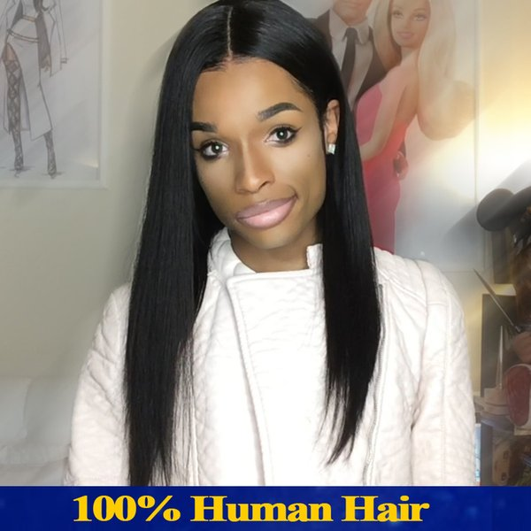 Full Lace Wig Long Hair Silky Straight Wig Owl Human Female Black Weave Density 150% Dame With Brazil Weave Wig With The Baby Hair Kabell