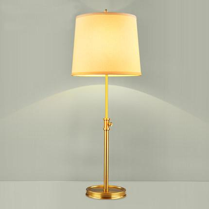 Hig-end European American style noble copper body fabric lampshade adjustable height led table lamps retro table lamp bedside lamp