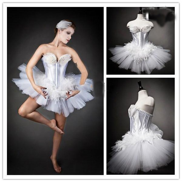 Lovely Feather Prom Dresses Strapless Sweetheart White Swan Beads Ballet Mini Formal Party Dresses Dance Gown