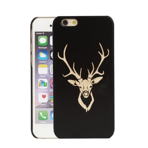 ON SALE U&I Unique Design Cell Phone Case Black PC Rubber Coating Precise Hole Wood Phone Case for Apple IPhone