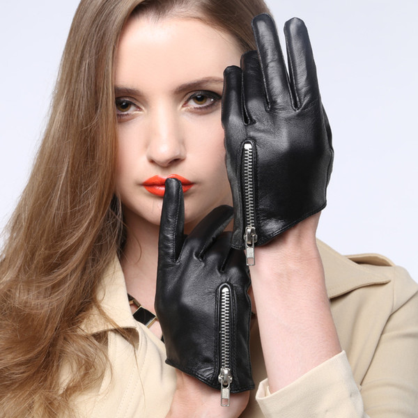 Wholesale- 2017 new summer autumn Christmas gift women sex pole dancing time model zipper supple nappa leather driving gloves mittens