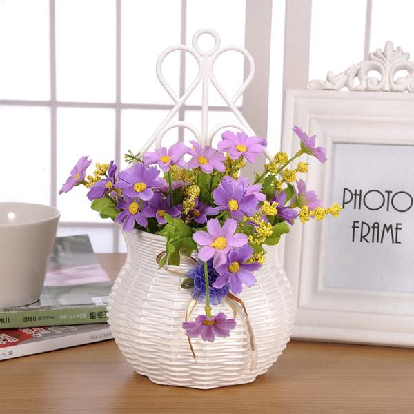 2018 modern design artificial rattan wall hanging small flower pots