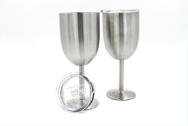 10oz Stainless Steel Wine Glass Double Wall Insulated Metal Goblet With Lid Tumbler Red Wine Mugs free DHL