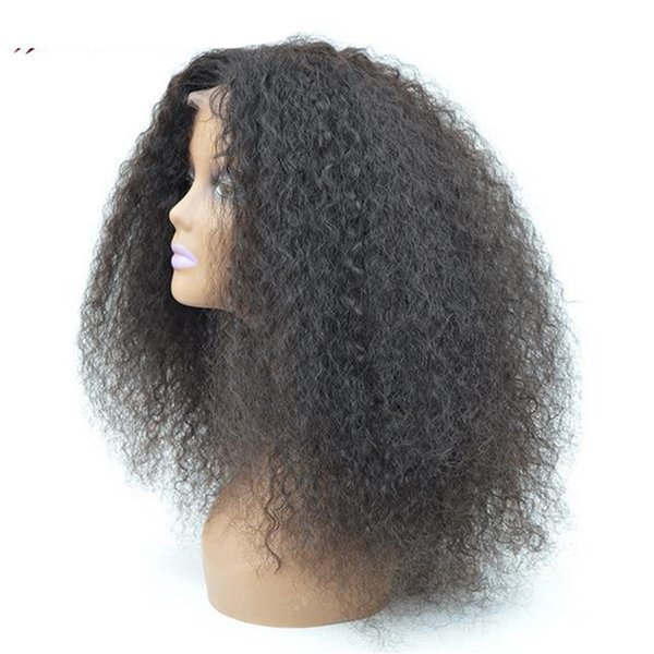 afro kinky curl full lace wig human hair virgin burmese hair lace front wig for black woamn free shipping