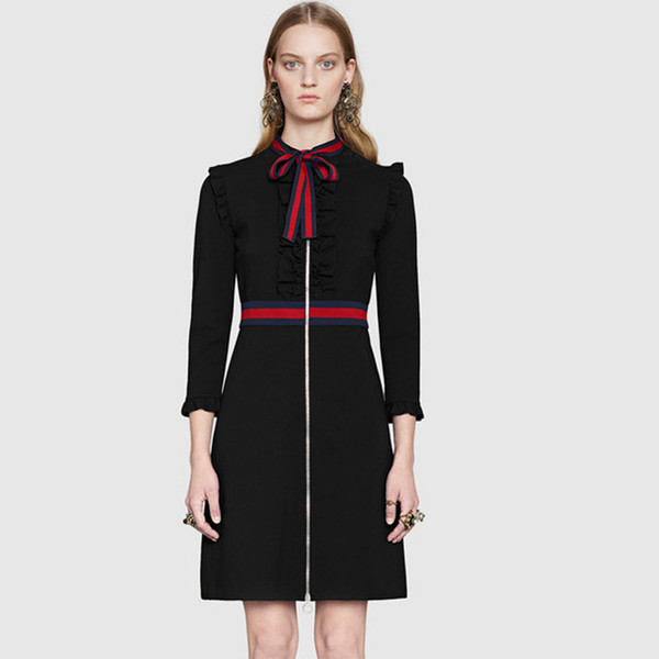 Runway Dress 2017 Black Long Sleeves Bow Collar Women Dress Brand Same Style Striped Dresses Women N017