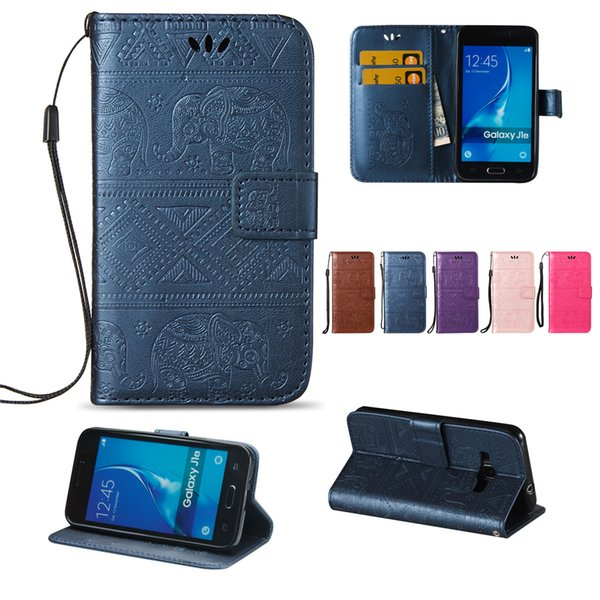 Wallet Cases For Samsung Galaxy J1 2016 PU Leather Cover Flip Buckle Card Slots Anaglyph Cute Calf Elephant