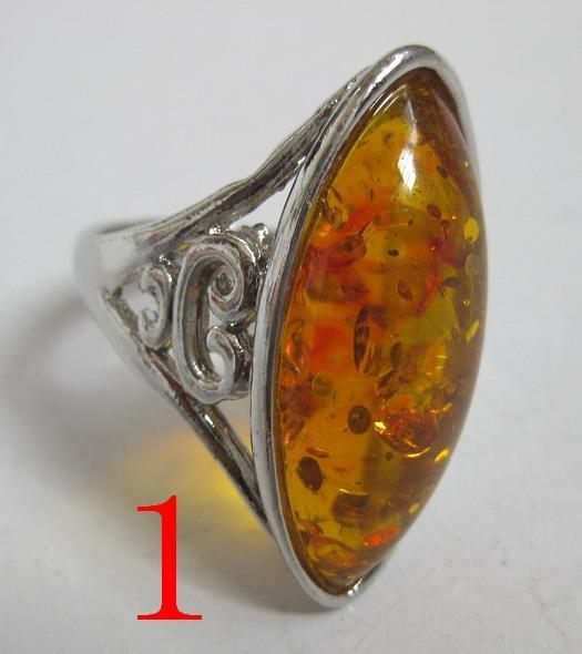 2017 vente en gros et au détail de bijoux fantaisie en argent avec bague en ambre 7, sélectionnez