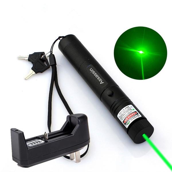 10Mile Militare Verde Penna puntatore laser Astronomia 532nm Potente giocattolo Cat Focus + 18650 batteria + caricabatterie
