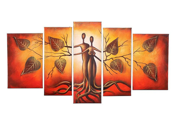 Unframed 5pcs 100% Hand-Painted Oil Paintings Landscape Human Face Kiss Trees Couple Abstract Artwork Home Decoration