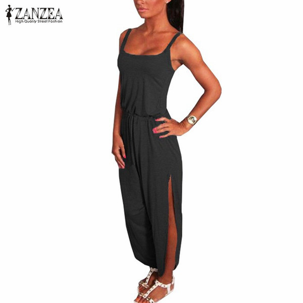 All'ingrosso-New ZANZEA Salopette 2016 Summer Rompers Womens Jumpsuit Sexy Spaghetti Strap senza maniche Spacchi tuta lunga Playsuit Plus Size