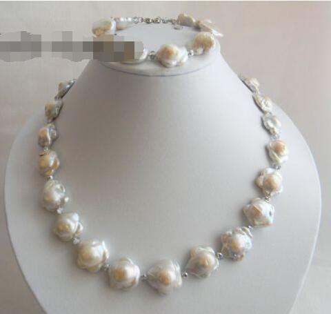 White Baroque Reborn Freshwater Pearl Necklace Bracelet Set