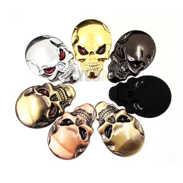 7 colors 3D Cool Car styling Metal Skull Skeleton Devil 3D Chrome Auto Emblem Badge Decal Motorcycle Car Stickers Accessories