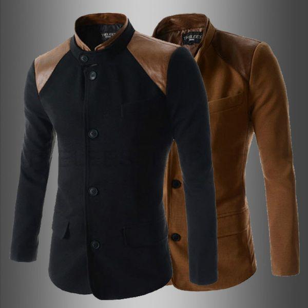 Vente en gros - haute qualité 2015 nouvelle arrivée décontractée slim fit patchwork hommes col mandarin blazer veste costumes noir / marron couleurs