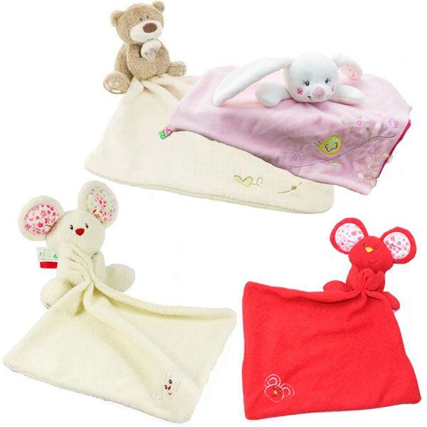 Atacado-1pc bebê consolador brinquedo bonito dos desenhos animados Animal rato urso macio chocalho de pelúcia com anel Bell multifuncional saliva toalha cuidados com o bebê
