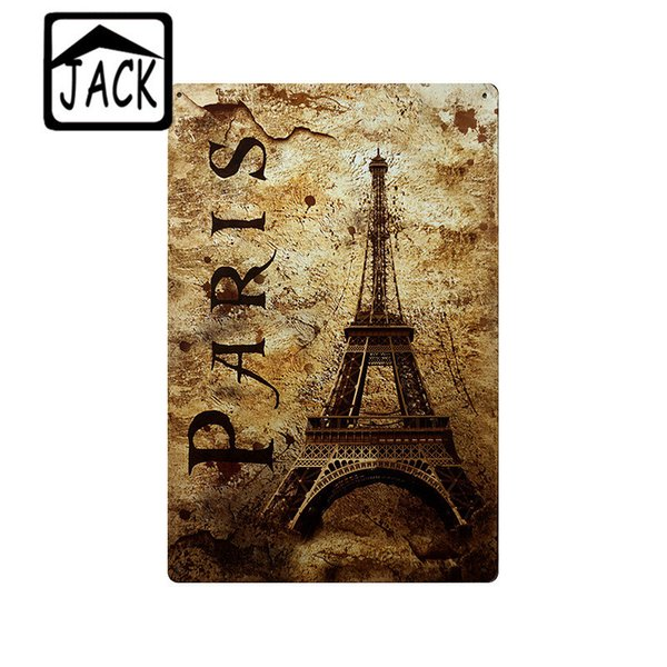 Vintage Eiffel Tower Phonebooth London Style 20x30cm Tin Signs Metal plate Shop Cafe Bar Home Gallery Wall Poster Decor Painting