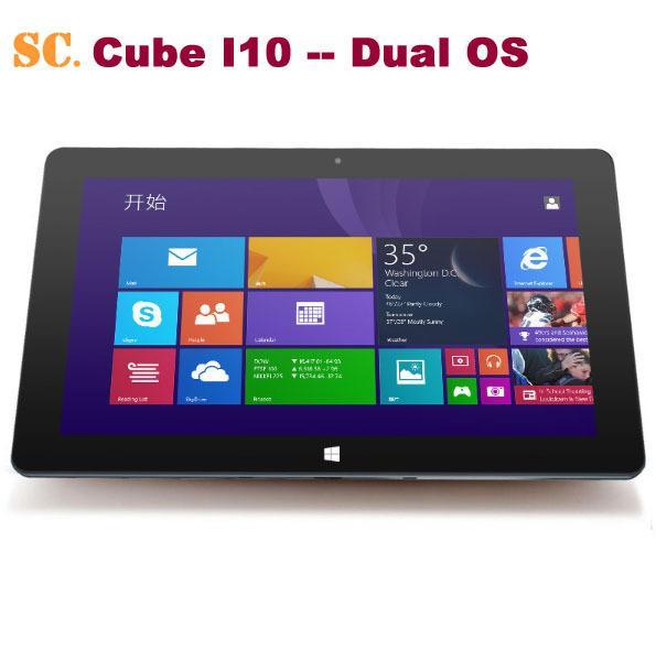 "Wholesale- 10.6"" 1366*768 Cube I10 Dual Boot Tablet PC Windows10 Win10+Android 4.4 Dual OS Intel Z3735F Quad Core 2G RAM 32G ROM Mini HDMI"