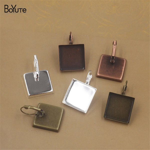 BoYuTe 40Pcs Silver Plated Fit 16MM 18MM 20MM 25MM Square Cabochon Base Setting Diy Clip Earrings Blank Tray Jewelry Accessories