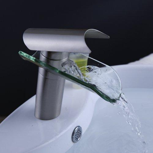 best selling Wholesale- Single Handle Centerset Waterfall Bathroom Sink Faucet With Hot&Cold Water s