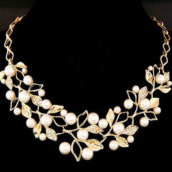 Tomtosh Simulated Pearl Necklaces &Pendants Gold Leaves Statement Necklace Women Collares Ethnic Jewelry For Personalized Gifts