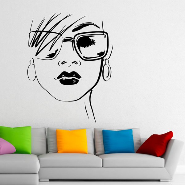 Fashion Design Glasses Wall Decals Home Decor Beautiful Sexy Girl Vinyl Wall Stickers Murals