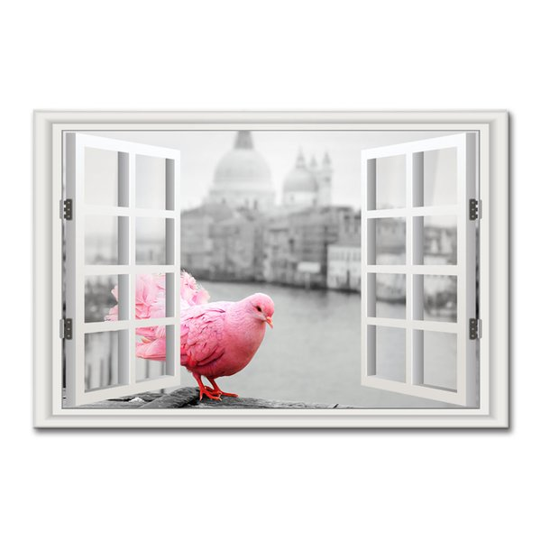 Black and White 3D Window Landscape Canvas Art Printing Red Pigeon Outside Window Canvas Wall Decor Unframed(60cmx90cmx1pcs)