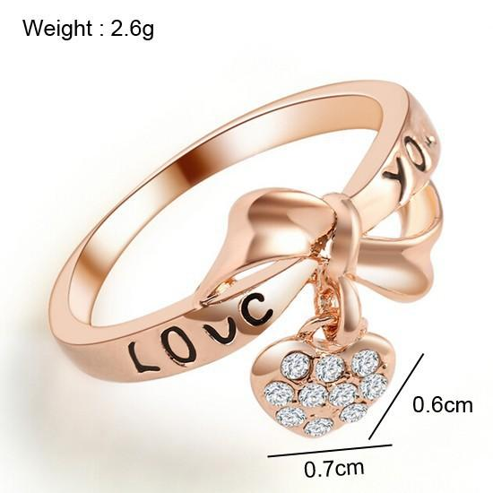 Love Heart bow ring Real gold bridal jewelry new style love you mark wholesale free shipping
