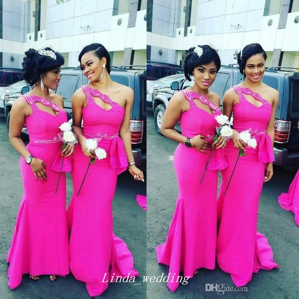 2017 New South African Fuchsia Formal Bridesmaid Dress Cheap One Shoulder Mermaid Long Beaded Maid of Honor Gown Plus Size Custom Made