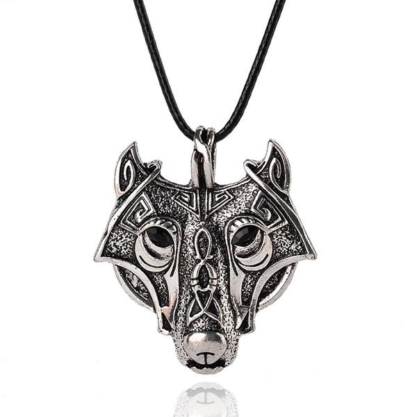 Collana in argento con pendente lupo color punk antico Game Of Thrones Collana in pelle con distintivo stark per uomini cool gioielli vichinghi